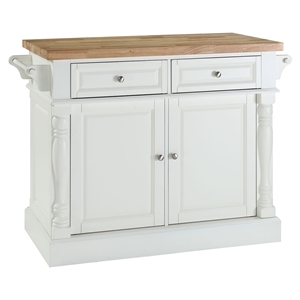 Butcher Block Top Kitchen Island - White