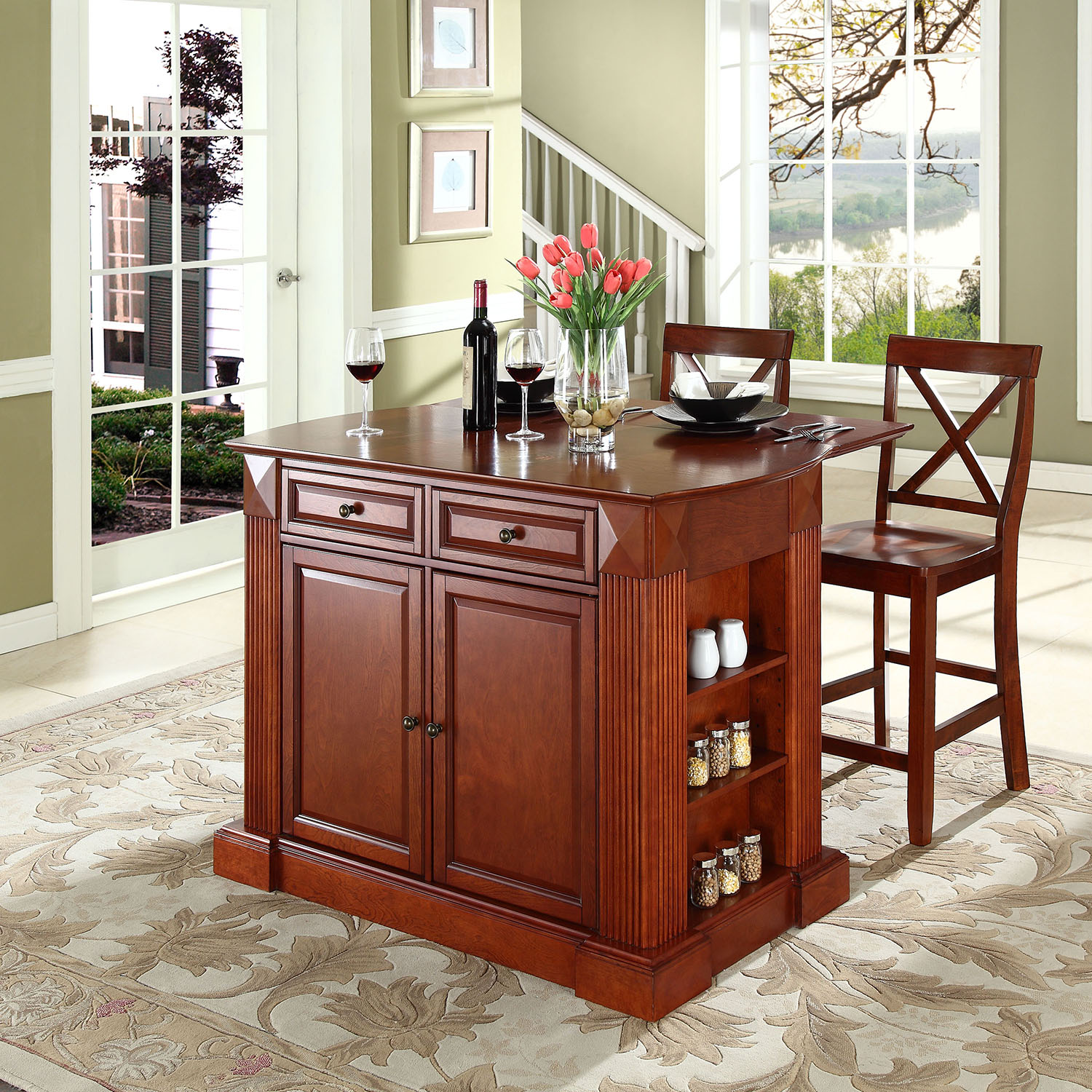 kitchen islands with drop leaf drop leaf kitchen island in cherry with 24 quot cherry x back stools dcg stores 6172