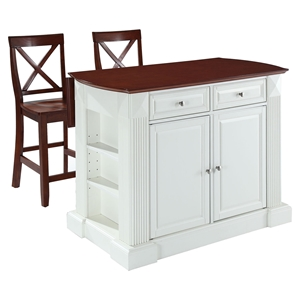 "Drop Leaf Kitchen Island in White with 24"" Cherry X-Back Stools"