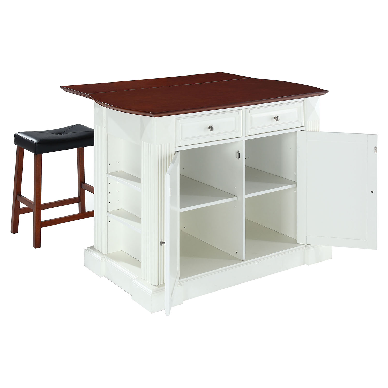 kitchen island with drop leaf breakfast bar drop leaf breakfast bar top kitchen island in white with 24 quot cherry stools dcg stores 3127