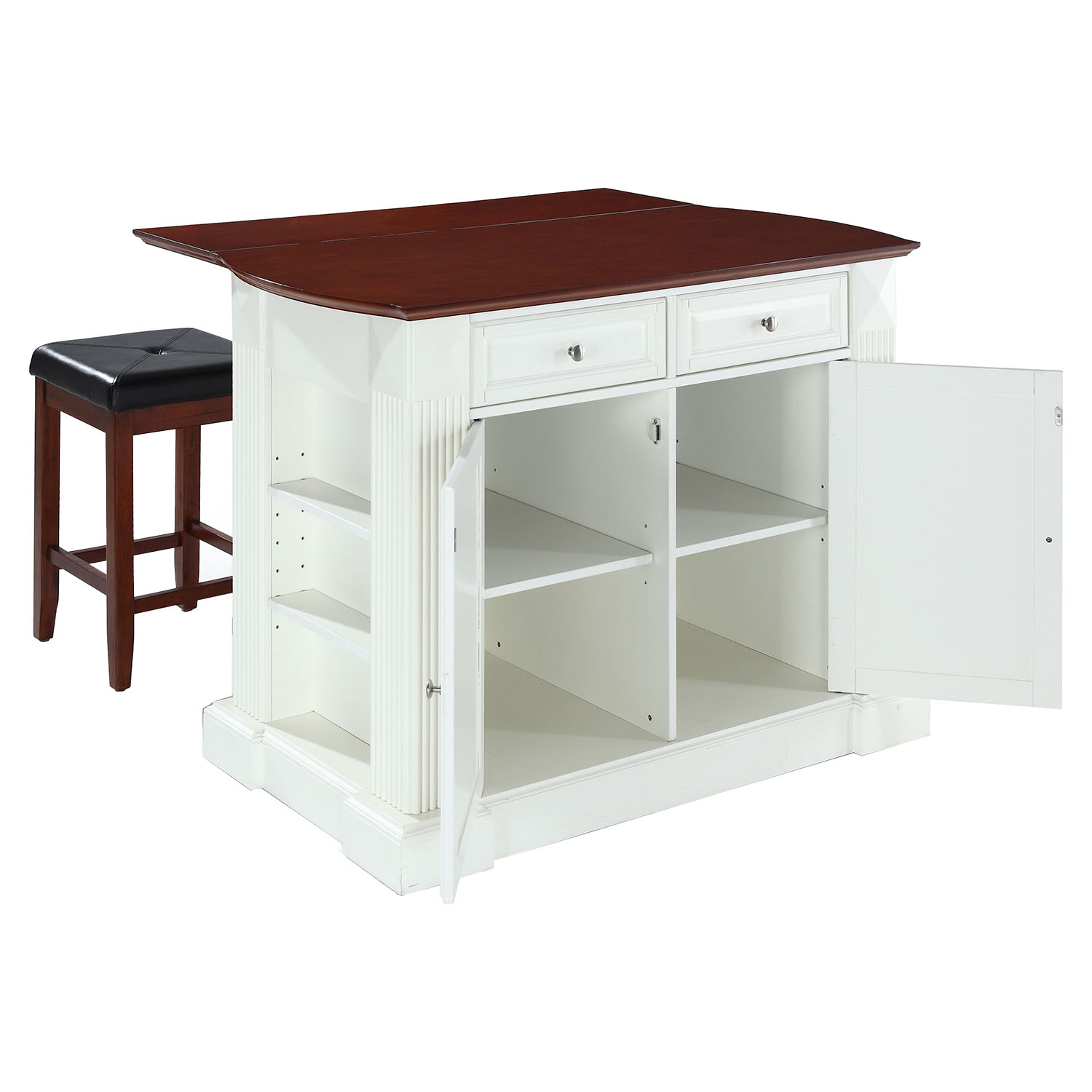 kitchen islands with drop leaf drop leaf kitchen island in white with 24 quot cherry square seat stools dcg stores 4918