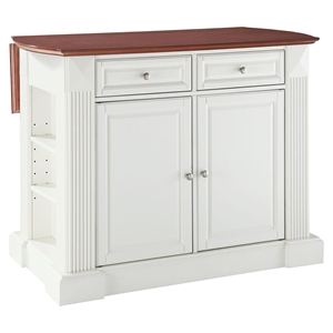 Drop Leaf Breakfast Bar Top Kitchen Island - White