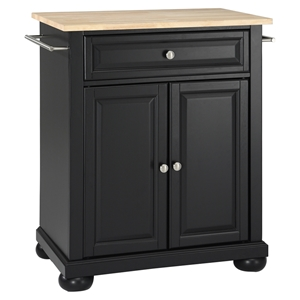 Alexandria Natural Wood Top Portable Kitchen Island - Black
