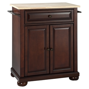 Alexandria Natural Wood Top Portable Kitchen Island - Vintage Mahogany