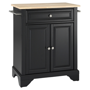 LaFayette Kitchen Island - Natural Wood Top, Portable, Black
