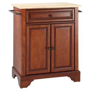 LaFayette Kitchen Island - Natural Wood Top, Portable, Classic Cherry