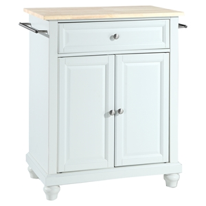 Cambridge Kitchen Island - Portable, Natural Wood Top, White
