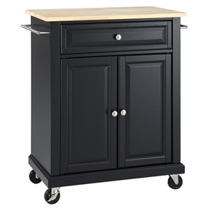 Natural Wood Top Portable Kitchen Cart/Island - Black