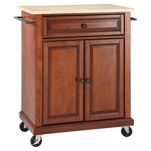 Natural Wood Top Portable Kitchen Cart/Island - Classic Cherry
