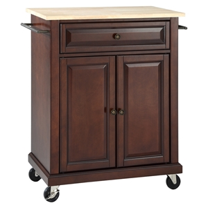 Natural Wood Top Portable Kitchen Cart/Island - Vintage Mahogany