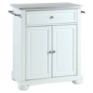 Alexandria Stainless Steel Top Portable Kitchen Island - White