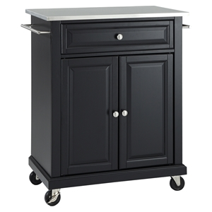 Stainless Steel Top Portable Kitchen Cart/Island - Casters, Black