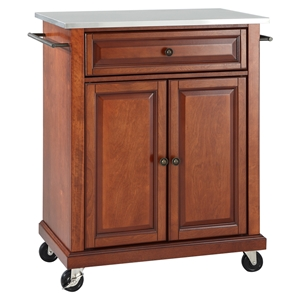 Stainless Steel Top Portable Kitchen Cart/Island - Casters, Classic Cherry