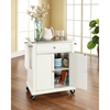 Stainless Steel Top Portable Kitchen Cart/Island - Casters, White - CROS-KF30022EWH