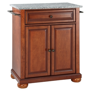 Alexandria Solid Granite Top Portable Kitchen Island - Classic Cherry