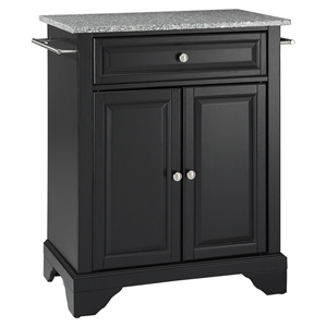 LaFayette Kitchen Island - Granite Top, Portable, Black