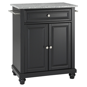 Cambridge Kitchen Island - Granite Top, Portable, Black
