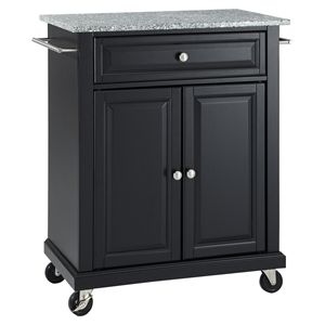 Solid Granite Top Portable Kitchen Cart/Island - Black