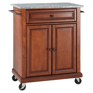 Solid Granite Top Portable Kitchen Cart/Island - Classic Cherry