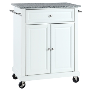 Solid Granite Top Portable Kitchen Cart/Island - White