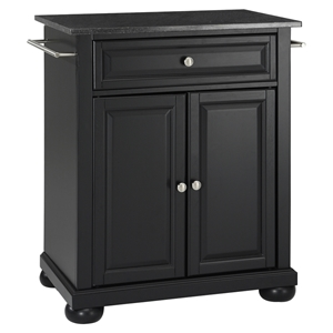 Alexandria Kitchen Island - Portable, Black Granite Top, Black