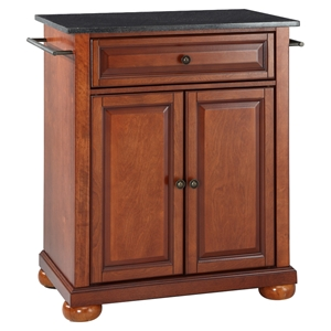 Alexandria Kitchen Island - Portable, Black Granite Top, Classic Cherry