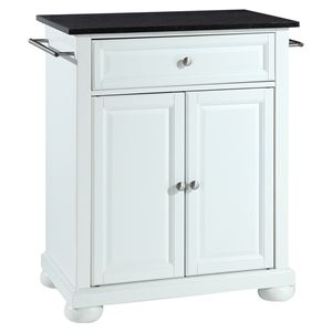 Alexandria Kitchen Island - Portable, Black Granite Top, White