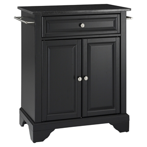 LaFayette Solid Black Granite Top Portable Kitchen Island - Black