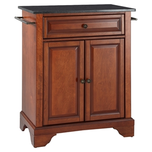 LaFayette Solid Black Granite Top Portable Kitchen Island - Classic Cherry