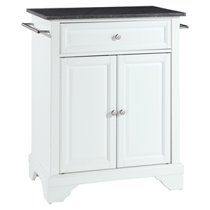 LaFayette Solid Black Granite Top Portable Kitchen Island - White