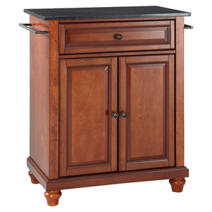 Cambridge Solid Black Granite Top Portable Kitchen Island - Classic Cherry