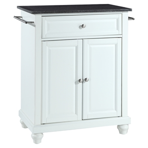 Cambridge Solid Black Granite Top Portable Kitchen Island - White