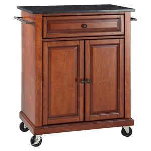 Solid Black Granite Top Portable Kitchen Island Cart - Classic Cherry