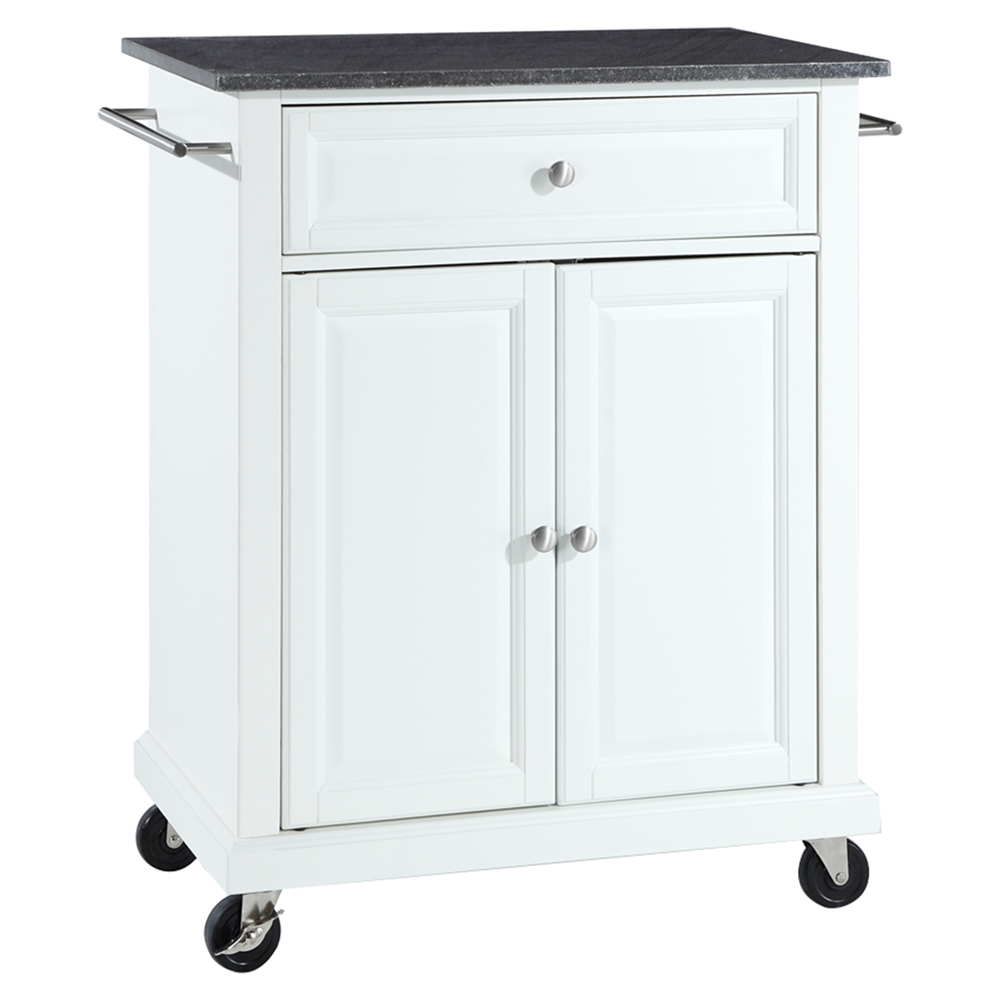 Solid Black Granite Top Portable Kitchen Island Cart