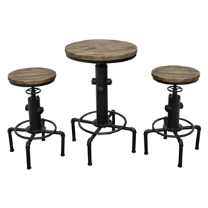 Brooklyn 3 Pieces Bistro Set - Adjustable Height, Gray and Black