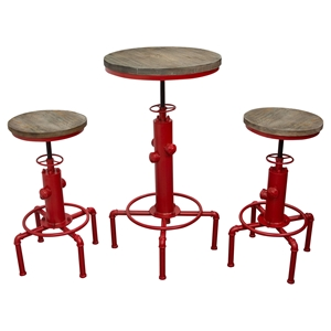 Brooklyn 3 Pieces Bistro Set - Adjustable Height, Gray and Red