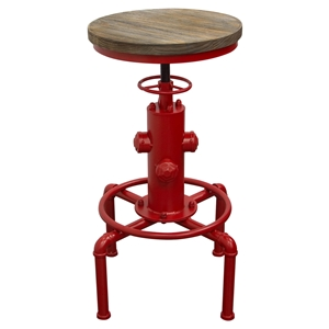 Brooklyn Adjustable Height Stool - Weathered Gray, Red