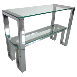 Carlsbad Console Table - Clear Glass Top, Shelf