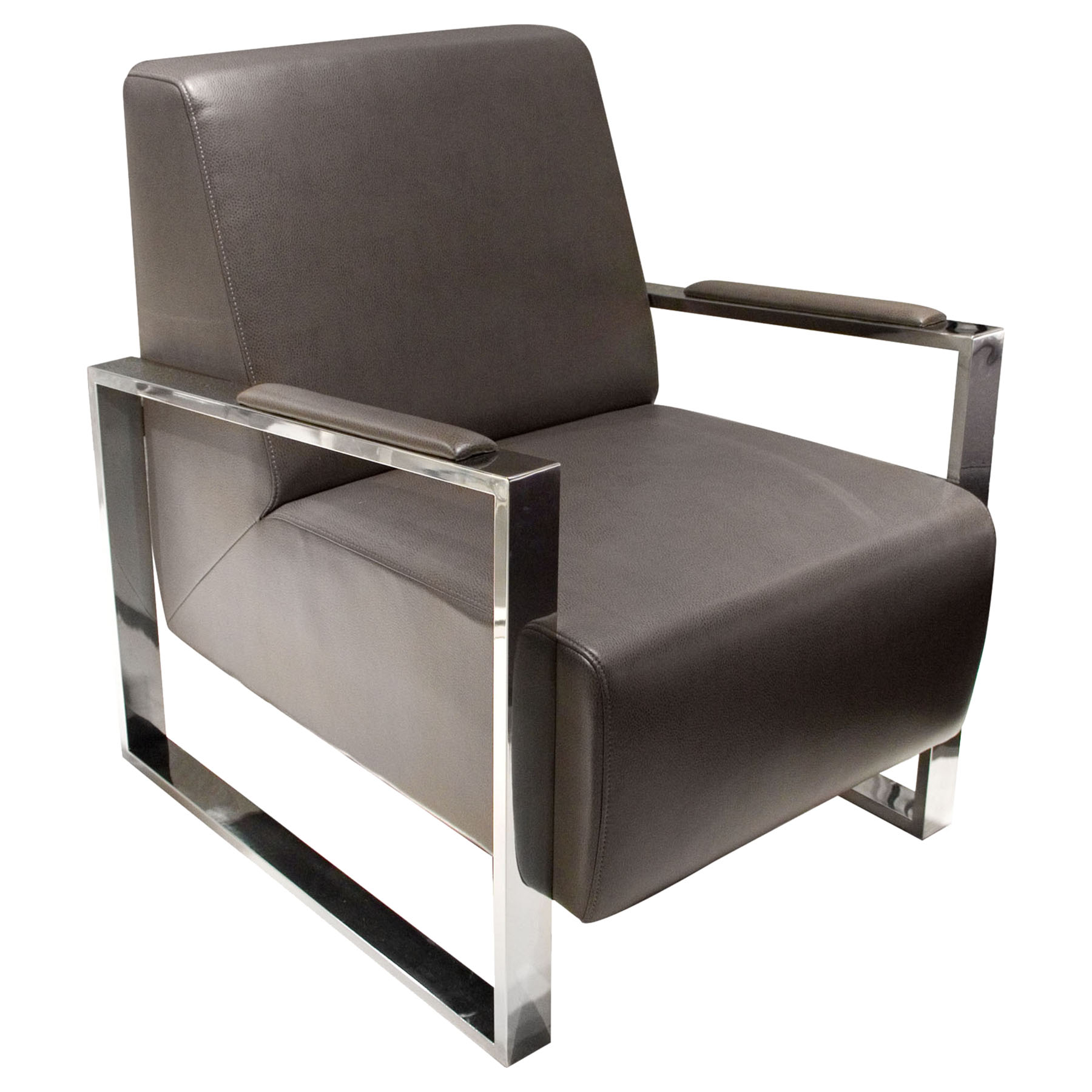 Century Bonded Leather Armchair Elephant Gray Stainless Steel Ds Centurycheg