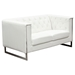 Chelsea Leatherette Loveseat and Sofa Set - Tufted, White - DS-CHELSEASLWH