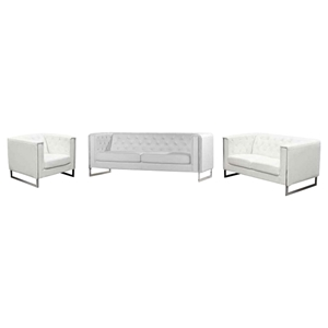 Chelsea 3 Pieces Leatherette Sofa Set - Tufted, White