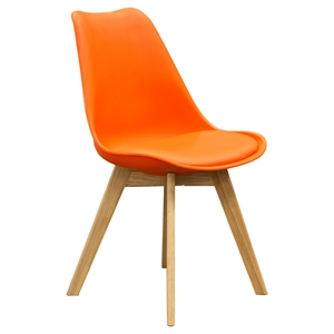 Coda Dining Chair - Orange Leatherette (Set of 2)