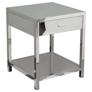 Corleo 1 Drawer Accent Table - Polished Stainless Steel