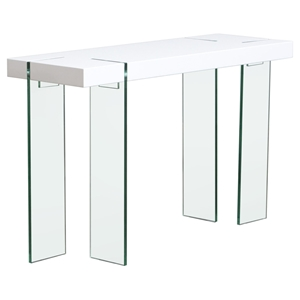 Console Table - White Lacquer Top, Glass Legs