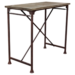 Dixon Rectangular Bar Table - Weathered Gray, Black