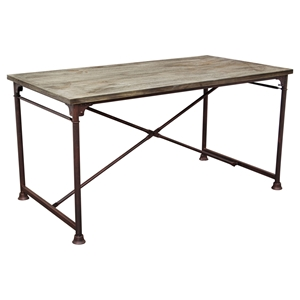 Dixon Rectangular Dining Table - Weathered Gray, Black