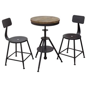 Douglas 3 Pieces Bistro Set - Weathered Gray, Black
