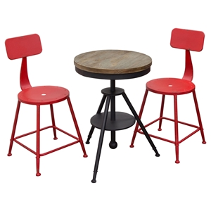 Douglas 3 Pieces Bistro Set - Weathered Gray, Red and Black