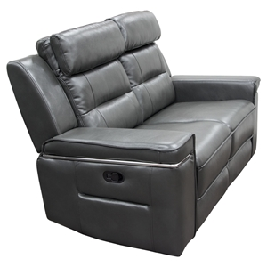 Duncan Dual Reclining Loveseat - Leatherette, Slate Gray