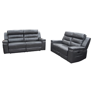 Duncan Dual Reclining Sofa and Loveseat - Leatherette, Slate Gray